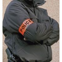 Brassard Police  Haute Visibilité Orange Velcro