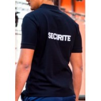 POLO INTERVENTION COTON SECURITE NOIR BRODERIE SECURITE BLANC