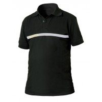 POLO SECURITE NOIR BANDE GRISE BRODERIE SECURITE OR